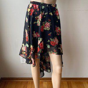 Metaphor Floral Sheer Hi-Low A-Line Mini Skirt